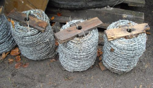 Barbed wire on reels